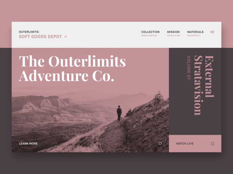 The Outerlimits Adventure Co. // Concept Site invision studio invision product design color block duotone color palette type web flat typography website interface ui homepage concept grid layout