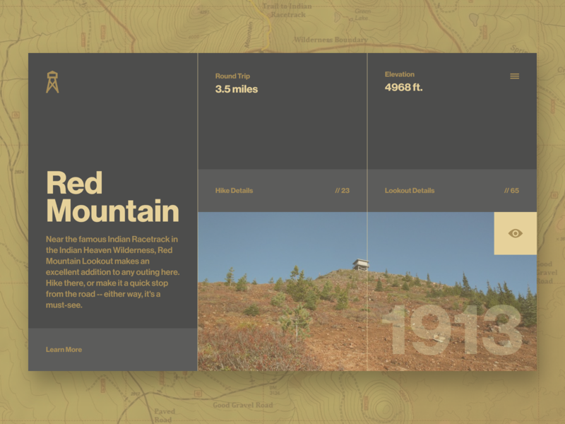 Fire Lookouts of WA State // Red Mountain // 05 website web ui typography type product design layout invision studio invision interface homepage grid flat duotone concept color palette color block