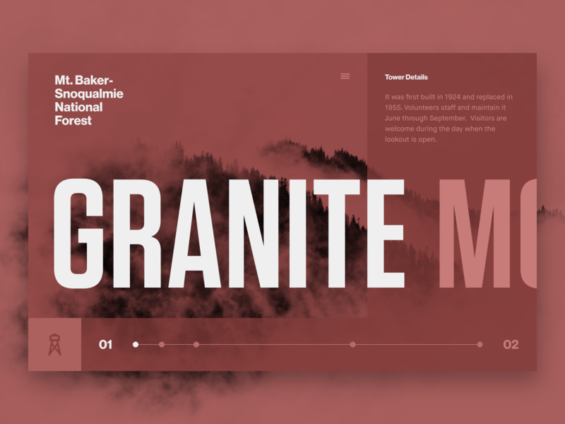 Fire Lookouts of WA State // Granite Mtn. // 06 website web ui typography type product design layout invision studio invision interface homepage grid flat duotone concept color palette color block