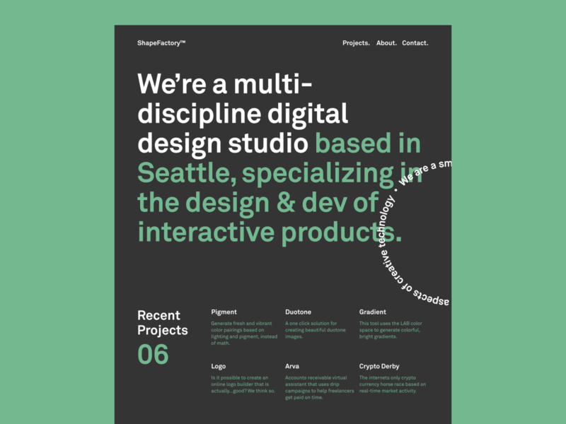 ShapeFactory™ Website type design layout grid minimal