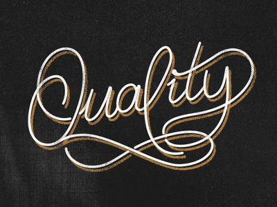 Quality 2.0  logotype shadow type vectorized hand drawn lettering monotype type