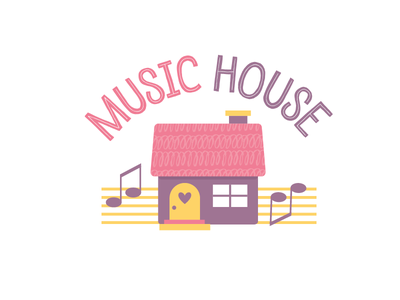 Music House Logo kid friendly fun children notes house music house childcare kids logo kindergarten