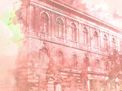 Colorsplash elte budapest paint wip building watercolor illustration