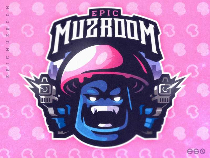 EPIC MUZROOM vibrant colors cute logodesign vector gaming mascot sportslogo logo gaming logo illustration bold branding esports