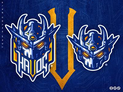 HAVOC Robot Mascot Logo cool logo cool colors cool design gundam mech robot vector gaming mascot sportslogo logo gaming logo illustration bold branding esports