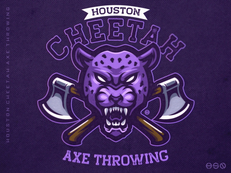 Houston Cheetah Mascot Logo cheetah tiger distressedunrest distressed vintage logo sports axe team logo logodesign vector gaming mascot sportslogo esports gaming logo illustration bold branding