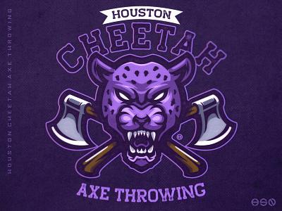 Houston Cheetah Mascot Logo cheetah tiger distressedunrest distressed vintage logo sports axe team logo logodesign vector gaming mascot sportslogo esports gaming logo illustration bold branding