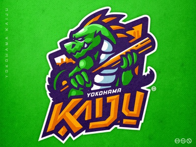 Kaiju Mascot Logo sports characterdesign monster logotype lettermark lettering team logo logodesign vector mascot sportslogo gaming logo illustration bold branding esports