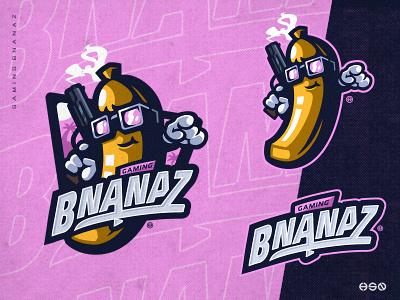 Gaming BNANAZ character cartoon sticker food illustration food fruit logo fruit gaming mascot sportslogo logo gaming logo illustration bold branding esports
