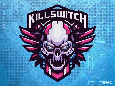 Killswitch Skull Mecha Mascot Logo tshirtdesign machine valorant skull drawings mecha twitch gamers team logo gaming mascot sportslogo gaming logo illustration bold branding esports