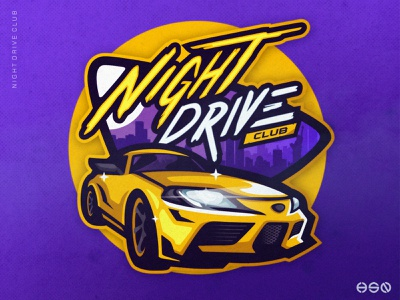 Car Logo Night Drive logotype logodesign wordmark lettering team logo ux mascot sportslogo gaming logo illustration bold branding cars