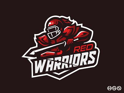 RED WARRIORS Mascot Logo football mascot design mascot logo knight warriors logo branding sportslogo sports