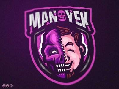 Manoyek Mascot Logo mascot strong web app streamers twitch game logodesign gamers vector ux typography design sportslogo potrait gaming logo illustration bold branding esports