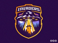 Invaders Mascot Logo - Alien UFO