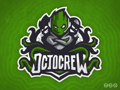 OCTOCREW    OCTOPUS Mascot Logo green cartoon character cartoons organization gamers mascotlogo team logo typography logodesign vector mascot gaming sportslogo logo gaming logo illustration bold branding esports