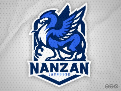 NANZAN Lacrosse   Griffin Mascot Logo brand identity company logo simple logo blue sports griffin team logo logodesign vector mascot gaming sportslogo logo gaming logo illustration bold branding esports