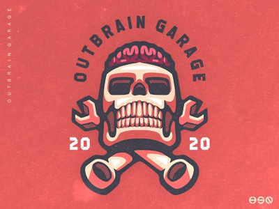 OUTBRAIN GARAGE Skull Logo vibrant colors distress classic retro design retro cars garage artwork team logo vector gaming sportslogo logo gaming logo branding mascotlogo vintage logodesign