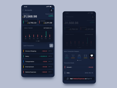 #001 // Rebound // Finance Calculator App personal apple categories chart uidesign debut dark calculator finance account bank sketch app concept ios app rebound iphone ios design app ui