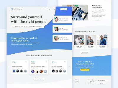Landing page for online mentoring website font photoshop website landing page design dribbble sketch ux design ux ui design ui interaction