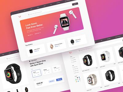 Ecommerce Store modern branding logo landing page app interaction sketch ios apple smart watch smartwatch web ecommerce ux design uiux ui