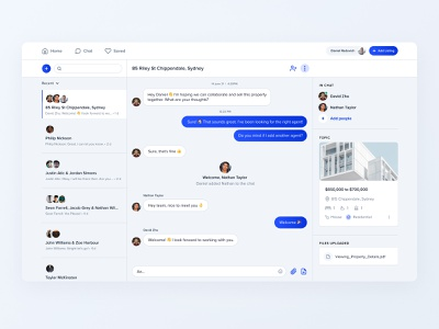 Chat UI UX for Realestate Marketplace figma design ux design ui design interaction landing page website grid web graphic design product messaging messenger chat ux ui