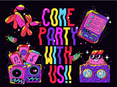 Party with us! cartoon music space lettering typography design character procreate poster vector typography illustration design digital