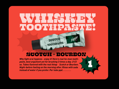 Whiskey Toothpaste vintage design vintage retro design retro typography design branding typography vector design digital