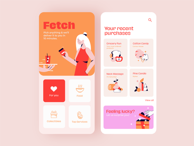 Delivery App Concept branding concept delivery service delivery app delivery mobile app design mobile ui food illustration food app foodie character woman uidesign ui branding typography illustration
