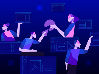 Collaboration employee people collaboration collaborate team vector illustration design digital