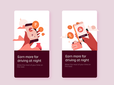 Night Earnings mobile earn earnings savings payment cash money illustrations ui vector illustration design digital