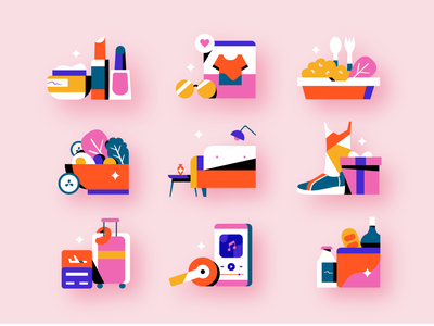 Shopping Icons icon set icons travel home shoes clothes delivery cosmetic makeup app icon grocery music food shopping shop vector illustration