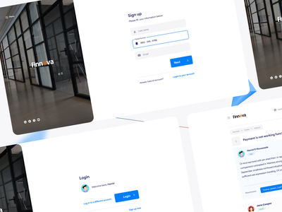 Finnova project login and dashboard UI and UX design figma ticket dashboard login finnova uiux design ux tehran iran ui
