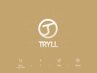 TRYLL logo design road tryll world bird logo fly