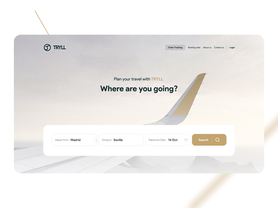 TRYLL fly and ticket landing gold travel agancy ticket flight uiux landing tehran ux iran ui
