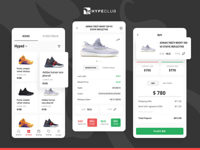 HypeClub hypeclub streetwear kicks sneakers shopping mobile app design mobile design ios application mobile