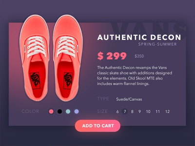 Shoes Card  shop buy sport shoe card web ux ui vans shoes