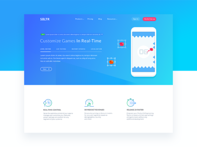 Main features of Saltr home page