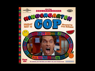 KINDERGARTEN COP illustration type poster movie schwarzenegger arnold