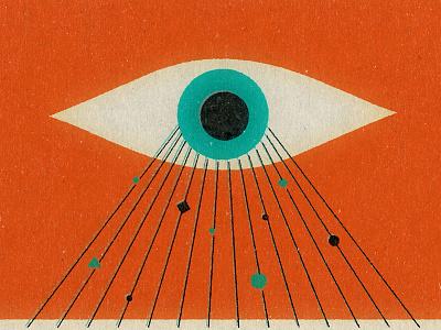 Super Eye  illustration lasers varner matt rays mid century eye