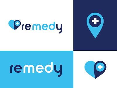 Remedy Logo healthcare app heart geotag branding logo health