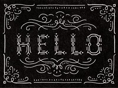 Hello line flourish hand drawn type hello