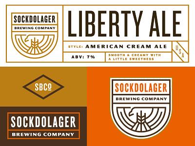 Sockdolager label branding logo american eagle brewing beer
