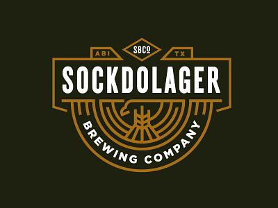 Sockdolager Logo barely branding logo american eagle brewing beer