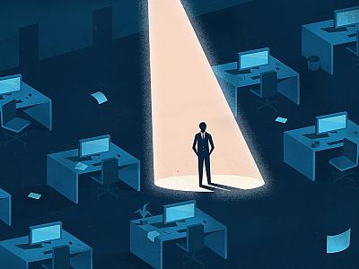 Business Man   ebook spotlight computers desk business blue illustration