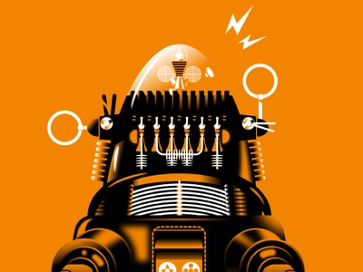 Danger robby robot orange mechanical sci-fi fiction lost in space space