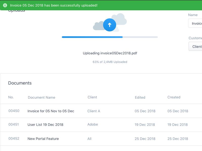 Ops Team Upload dashboard portal ux