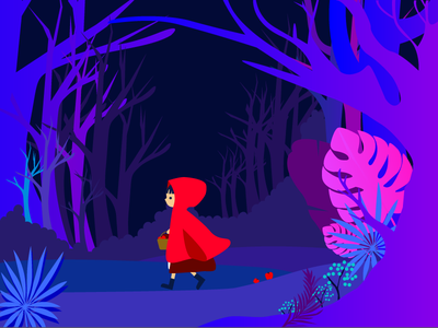 Little Red Riding Hood people blue forest hood riding red little illustration