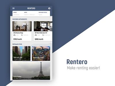 Rentero Renting App app user interface ux website web design web platform design