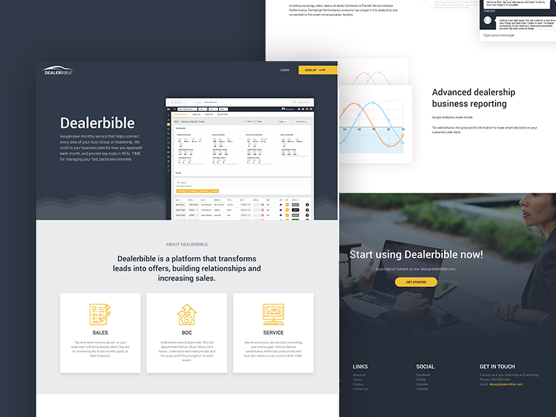 Dealerbible - Landing page photoshop ux ui page design dark hero icons material user interface landing page