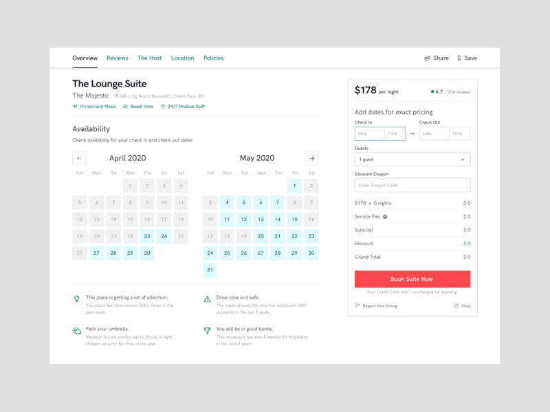 Hotel Suite Booking Redesign goodui ui patterns uidesign uiux feature icons insights price list booking calendar calendar hotel booking booking uxdesign clean ui redesign airbnb